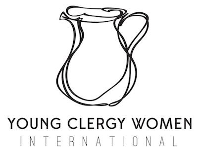 Young Clergy Women International with their logo, a line sketch of a water jug
